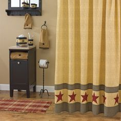 New Primitive Country Mustard Black Check QUILT PATCHWORK STARS Shower  Curtain | Primitive Country, Primitives And Mustard