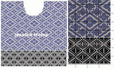 MES FAVORIS TRICOT-CROCHET: Le jacquard Fair Isle Knitting Patterns, Knitting Charts, Knitting Stitches, Knit Patterns, Double Knitting, Rubrics, Diy And Crafts, Mosaic, Embroidery