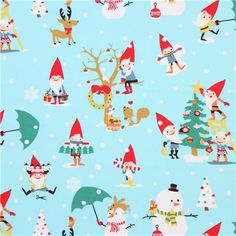 Children fabric ::: Christmas gnomes and snowman Michael Miller fabric