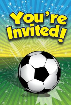 This sports theme invitation features an English football soccer ball. Free to download and print