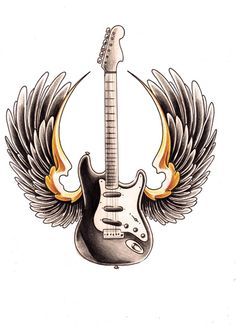 guitar with wings by WillemXSM on DeviantArt Guitar Tattoo Design, Music Tattoo Designs, Tribal Tattoo Designs, Tribal Tattoos, Dad Tattoos, Music Tattoos, Tatoos, Guitar Drawing, Guitar Art