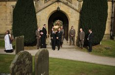 The Dowager's wicker coffin was taken away from the church by six pallbearers, who included the head gamekeeper at the estate