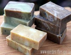 Cold Process All-Natural Handmade Soap. Recipes for Lemongrass Ginger Coffee Kitchen Soap, Rosemary Spearmint Energizing Shower Soap, and Orange Vanilla Cinnamon Soap. Homemade Beauty, Homemade Gifts, Diy Gifts, Homemade Cards, Handmade Soap Recipes, Handmade Soaps, Diy Soaps, Handmade Crafts, Handmade Rugs