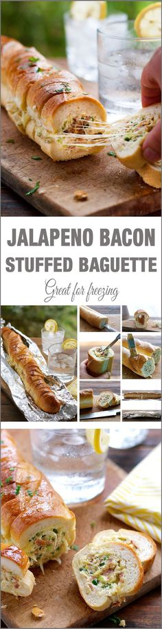 Cheesy Jalapeno Bacon Stuffed Baguette with Gar.- Cheesy Jalapeno Bacon Stuffed Baguette with Garlic Butter Recipe – … Cheesy Jalapeno Bacon Stuffed Baguette with Garlic Butter Recipe – MOMORIRECIPES - Stuffed Jalapenos With Bacon, Jalapeno Bacon, Stuffed Baguette, Stuffed Bread, Tapas, Fingers Food, Cheesy Garlic Bread, Appetizer Recipes, Gastronomia
