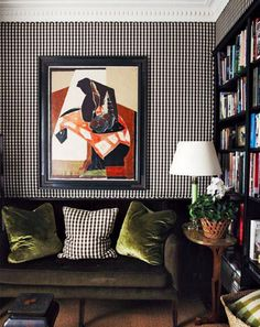 Black gingham wallpaper Cameron Kimber achieves restrained elegance in his tiny 1880 terrace, Vogue Living Sept/Oct cover story. From 'At Home', a story on page 118 of Vogue Living Sept/Oct Photograph by Prue Ruscoe. Decor, Home, Inspiration, Room Inspiration, Interior Inspiration, Interior, Vogue Living, Upholstered Walls, Room