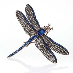 Macklowe Gallery oxidised silver and gold dragonfly brooch with diamonds and sapphires