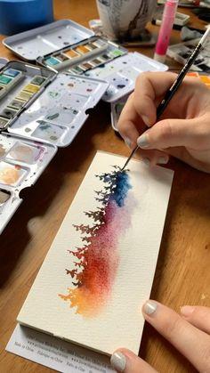 Watercolor Art Lessons, Watercolor Techniques, Drawing Techniques, Watercolor Tutorials, Watercolor Landscape Paintings, Painting With Watercolors, Abstract Watercolor Tutorial, Watercolor Video, Watercolor Journal