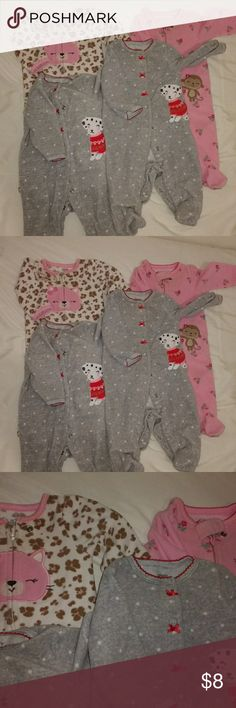 Kids Bundle of 4 Adorable baby onesies. Size 0 to 3 months. 2 Carter's and 2 child of mine. Gently used but good condition. My girls grew out of them quick and were worn only handful of times Carter's Pajamas