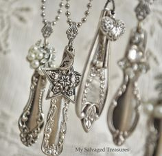 I'd eat with my fingers if I could turn all my silverware into such beautiful necklaces! ALMOST TRUE, it would need to be SOMEONE ELSE's silver :) LSE Fork Jewelry, Silverware Jewelry, Metal Jewelry, Beaded Jewelry, Silver Jewelry, Vintage Jewelry, Handmade Jewelry, Cutlery, Handmade Necklaces
