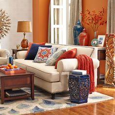 94 Inspirational Charming Living Room Design Ideas In 2020 - Home Design Ideas Blue And Orange Living Room, Orange Rooms, Orange Walls, Orange Living Room Paint, Orange Room Decor, Grey Living Room With Color, Beige Walls, Design Salon, Deco Design