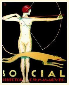 Cuban Art Deco - Artemis Goddess Bow Hunt with Greyhound Dog. Art Deco Posters, Vintage Posters, Poster Prints, Canvas Poster, Canvas Art, Belle Epoque, Art Nouveau Pintura, Decoration, Art Decor