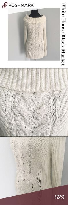 """🔴SALE🔴White House Black Market Sweater White House Black Market Cream Cowl Neck Sweater in great condition. Length: 23"""", Chest: 16"""". Smoke and Pet Free Home. Offers warmly welcome. Bundle and save 10%. White House Black Market Sweaters Cowl & Turtlenecks"""