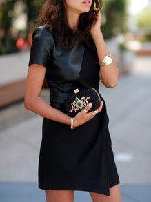 sexy dress, leather dress, black dress, party dress, short sleeve dress - Lyfie