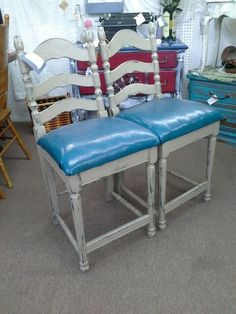 $40 each - We currently have two matching tall stools, that have been painted and distressed. They also have newly upholstered seats. They measure 23 inches to the seat and 41 inches to the tallest point.  They can be seen in booth C 1 at Main Street Antique Mall 7260 East Main St ( E of Power Rd ) Mesa 85207  480 9241122 open 7 days 10 till 530 Cash or charge accepted
