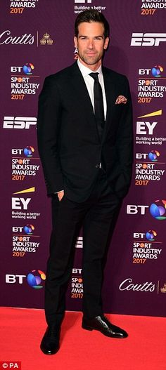 Such gents: Tom Daley (left) and TV presenter Gethin Jones (right) were among the male stars cutting a dapper figure at the awards