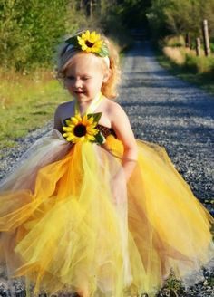 Sunflower Wedding Inspiration SUNFLOWER WEDDING FLOWER GIRLS