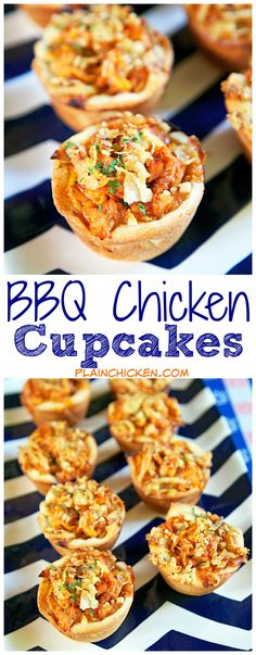 BBQ Chicken Cupcakes - chicken, bbq sauce, cheese, refrigerated pizza dough baked in a muffin pan and topped with French fried onions. So simple and SO delicious! Great for tailgating or a quick lunch/dinner. Can swap chicken for leftover holiday turkey.