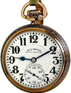 Illinois 60 Hour 23 Jewel Bunn Special Antique Railroad Pocket Watch 16 Size Type 163 Circa 1930