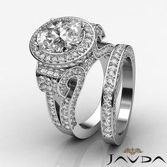 Oval Diamond Vintage Engagement GIA F VS2 14k White Gold Bridal Set Ring 4 8 Ct | eBay