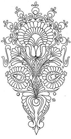 inspiration for an embroidery pattern Hungarian Embroidery, Folk Embroidery, Learn Embroidery, Hand Embroidery Patterns, Cross Stitch Embroidery, Indian Embroidery, Flower Embroidery, Doodles Zentangles, Embroidery Techniques