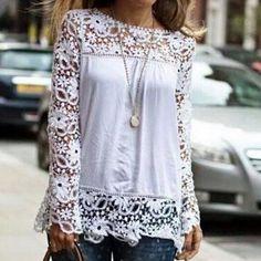 Fashion lace long-sleeved shirt #FD102315