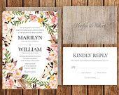 Rustic Wedding Invitation, Pink, Blush, Brown, Roses, Floral, Spring Wedding, Fall Wedding, Woodland, Bohemian, Wood, Garden