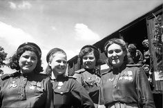 """Russian Female Snipers ~~WWII Soviet female snipers, adorned with their ribbons, celebrating the news of the end of the war. Size is about 4"""" x 6""""."""