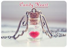 Candy Heart Tiny glass Bottle Necklace. heart by 13thPsyche
