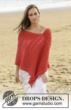Playa Honda - Knitted poncho with lace pattern in borders in DROPS Brushed Alpaca Silk. Size: S - XXXL Free knitted DROPS 178-60