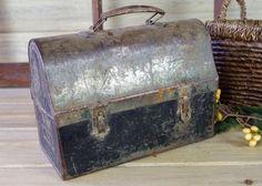 Metal Lunch Box, Metal Pot, Vintage Storage, Rustic Decor, Shop Display, Industrial Lunch Box, Metal Box, Garden, Patio Metal Planter #10-25 by RusticSpoonful on Etsy