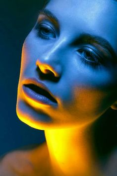 yellow and blue colored light portrait photography, fantasy art fashion editorial photography girl female upper body haute couture luxury high fashion portrait woman in dress in a garden, color photo, fashion face portrait picture, ethereal woman Colour Gel Photography, Photography Women, Light Photography, Creative Photography, Editorial Photography, Fashion Photography, Photoshop Photography, Jewelry Photography, Photography Aesthetic