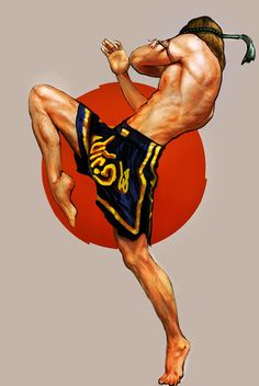 Muay Thai: literally translated Thai boxing it is a aggressive violent art of strikes. muay thai incorporates punches kicks elbows and knees.