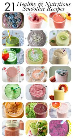 Healthy Smoothies Recipe 21 Healthy Smoothie Recipes (for breakfast, energy and more!) - Here are 21 delicious, nutritious healthy smoothie recipes to start off your morning right. Healthy Shakes, Healthy Drinks, Healthy Recipes, Protein Shakes, Healthy Smoothies For Breakfast Recipes, Delicious Smoothie Recipes, Healthy Meal Recipes, Healthy Morning Smoothies, Smoothie Recipes For Kids