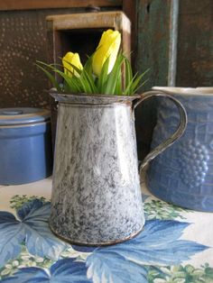 Early Antique Gray Graniteware Pitcher | eBay