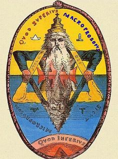 The phrase within the ouroboros in the above image is 'Quod Superius Macroprosopus, Quod Inferius Microprosopus.' It is equivalent to the Latin phrase 'Quod superius sicut quot inferius' which means 'As above, so below.'  I take it as referring to the duality of the microcosm and the macrocosm. One cant deny the similarities.