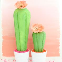 Use Foam Cones from FloraCraft Make It: Fun to create faux cacti for your summer party or home decor. Great alternative to real cacti that won't prick - easy craft diy