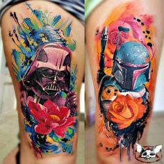 amazing Darth Vader and Boba Fett tattoos that were posted on the GeeksterInk app today by Zoltán Mészáros of Nails Tattoo in Szolnok, Hungary. Really well done!
