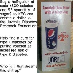 Seriously? KFC wants to put you at risk for diabetes to help find a cure.  What do you think? SHARE and Spread to aware everyone