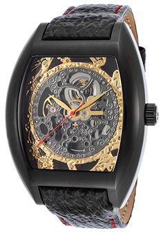 Men's Beethoven's 2nd Auto Black Leather Gunmetal & Gold-Tone Dial
