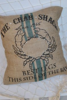 The Crab Shack Beach themed burlap pillow cover by MonMellDesigns, $48.00