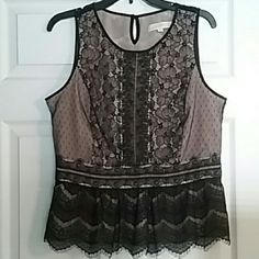 LOFT lace top Sleeveless black lace top with nude colored lining and peplum flare. Nylon and polyester. Like new condition. Large petite size. Would fit sizes 8 to 10. Very sexy and feminine. LOFT Tops Blouses