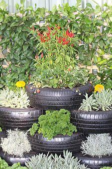 stacked tire tiered garden