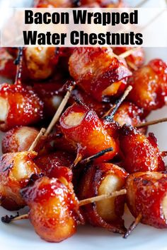 Bacon Wrapped Water chestnuts are by far one of the most requested appetizers from friends. Water chestnuts wrapped in bacon slathered in a brown sugar glaze these tasty bites are always the first thing to go at a party. Easy Appetizer Recipes, Yummy Appetizers, Snack Recipes, Dinner Recipes, Icing Recipes, Lentil Recipes, Pizza Recipes, Cooking Recipes, Healthy Recipes