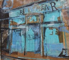 Blue Bear Cafe, Canonmills, Edinburgh Collage with Monoprint and Wax 2015 This has been 'almost finished' for months…been I've too scared to ruin it as it was….and now phew and wow! The wax on top of the blue paper and old 'Winnie the. Collage Landscape, Landscape Paintings, Landscapes, Mixed Media Collage, Collage Art, Newspaper Collage, Urbane Kunst, Photocollage, Building Art