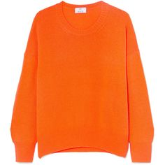 Allude Oversized cashmere sweater ($475) ❤ liked on Polyvore featuring tops, sweaters, jumpers, long sleeves, shirts, orange, over sized sweaters, orange cashmere sweater, cashmere sweater and pure cashmere sweaters