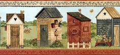 Wallpaper Borders R Us  Outhouses and Birdhouses