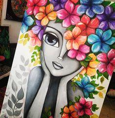 "ʀᴏᴍɪ ʟᴇʀᴅᴀ | ᴀʀᴛ en Instagram: ""Una nueva obra para este domingo... 🌺🌷🌺🏵️🌼🌻 Acrílico 60 x 90 . . . romilerdart #citybell #arteargentina #mexico #italia #españa…"" Art Drawings Sketches Simple, Colorful Drawings, Indian Art Paintings, Owl Paintings, Indian Folk Art, Cherokee Indian Art, Kunstjournal Inspiration, Canvas Painting Tutorials, Oil Pastel Art"