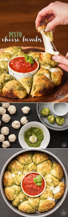 Ooey gooey melty Pesto Cheese Bombs with marinara sauce are super easy to make and will please any crowd. Make this appetizer for your next game day party!