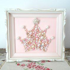 Princess Crown Mosaic Art - Blush Pink, White Nursery Bead Wall Hanging - Rhinestone, Pearl, Glitter Art - 3d Art Tiara - Whitewashed Frame by berryisland on Etsy