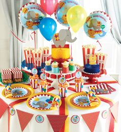 My Paper Shop.com - Circus Time Birthday Party Supplies design features brightly colored elephants, lions, and seals. This bulk party ensemble is printed on the following tableware items: Paper Napkins, Plates, Cups, and Plastic Tablecloths.  Complete your party set-up by adding coordinating circus theme decorations that include: Table Centerpieces, Hanging Cutouts, Blowouts, Balloons, Candles, Invitations, and more. Also available in this collection are Age Specific Napkins and Banners ...